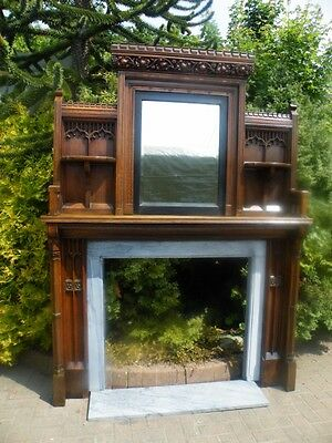 AMAZING Huge Victorian 1860 Gothic Oak Mirrored Fireplace Mantle & Marble Slip