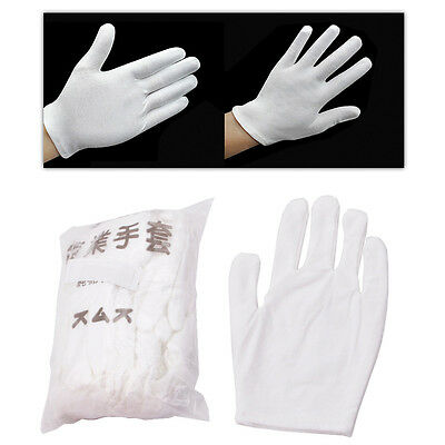 12 Pairs Inspection Cotton Lisle Work Gloves Coin Jewelry Lightweight White