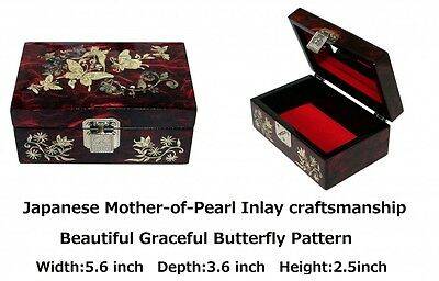 Japanese Antique Beautiful Mother of Pearl Papier Mache Work Sewing Jewel Box