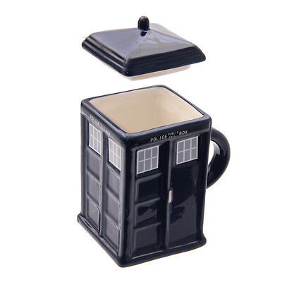 New Police Box Mug With Lid Shaped Ceramic Cup Novelty Coffee