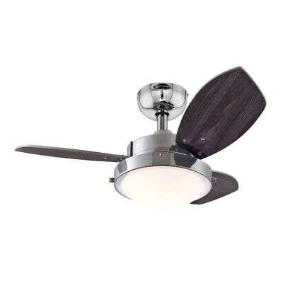 "Wengue 30"" Westinghouse Ceiling Fan Chrome with Light"