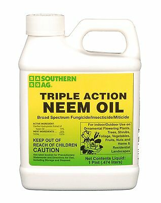 Triple Action Neem Oil 16oz Pint Organic Insecticide / Fungicide / Miticide OMRI