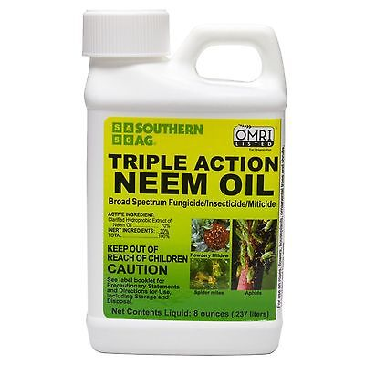 Triple Action Neem Oil 8oz Organic Insecticide / Fungicide / Miticide OMRI