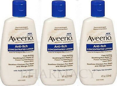 AVEENO Lotion Anti-Itch Concentrated 4oz ( 3 pack ) ***