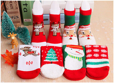 Xmas Winter Warm Christmas Thick Cotton Terry Socks Baby Girl Boy Socks Gifts