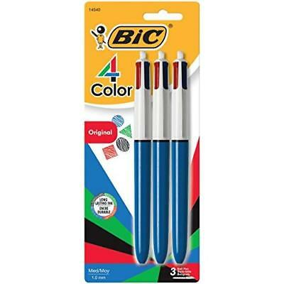 BIC 4-Color Ball Pen, Medium Point (1.0mm), Assorted Ink, 3-Count New