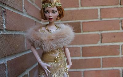 ~Camel Mink Fur Shoulder Wrap for Ellowyne Wilde Sydney Gene dolls~by dimitha~