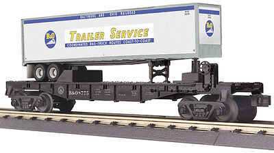 MTH Electric Trains Flatcar w/40' Trailer - 3-Rail - Ready to Run - RailKing(R)