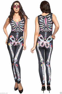 Women Sugar Skull Jumpsuit Skeleton Costume Goth Punk Sexy Clubwear Size UK 8-10
