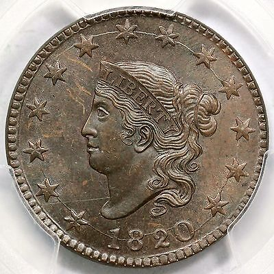 1820 N-13 PCGS SM 63 BN Large Date Matron or Coronet Head Large Cent Coin 1c