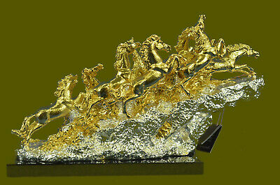 24K Gold Plated Eight Mustang Horses Bronze Statue Abstract Modern Art Decor