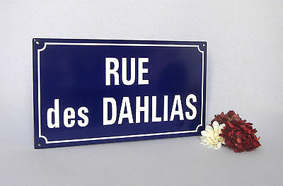 "VINTAGE FRENCH ENAMELED PLAQUE ""Street of Dalhias"", superb condition"