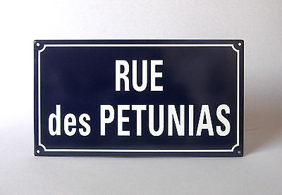 """VINTAGE FRENCH ENAMELED PLAQUE """"Street of Petunias"""", superb condition"""