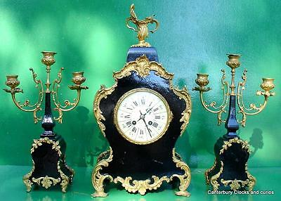 ANTIQUE JAPY FRERES 8 DAY ORMOLU ROCOCO BOULLE TYPE CANDELLABRAS CLOCK SET 1880c