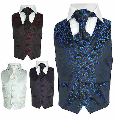 Page Boy Wedding Waistcoat Cravat Set in Blue, Purple, Ivory, Red, Boys Suit