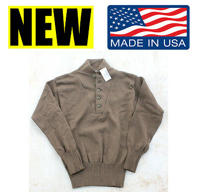 3fcbcdc6f4 US MILITARY WOOL Acrylic JEEP 5 BUTTON brown SWEATER GI army marine dscp  medium
