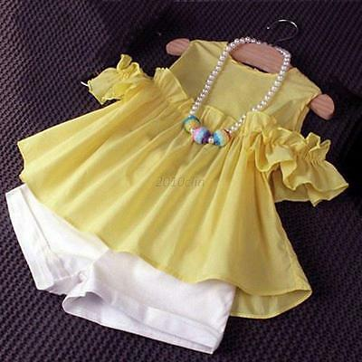 2PCS Outfits Toddler Kids Baby Girls T-shirt Tops Dress+Shorts Pants Clothes Set