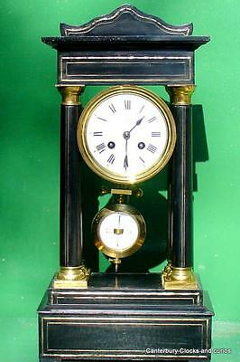 S.MARTI ANTIQUE FRENCH EMPIRE TWO TRAIN 8 DAY PORTICO MANTLE CLOCK 1820c