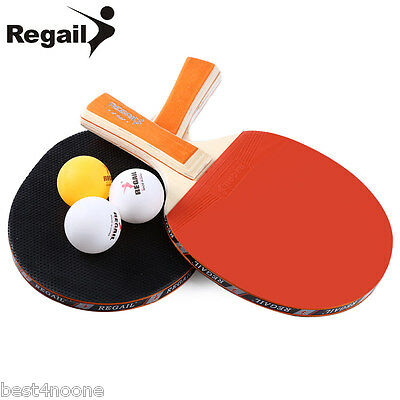 REGAIL A Pair Table Tennis Ping Pong Racket Two Long Handle Bat Paddle+ 3x Balls