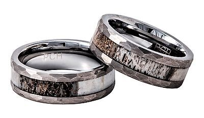 Deer Antler Ring Tungsten Mens Hammered Wedding Band 8mm Comfort Fit 7 to 14