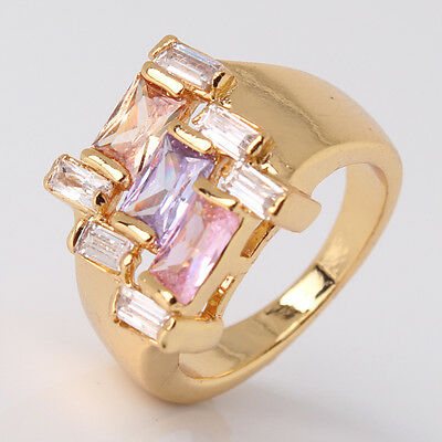 Luxury 24k Gold Filled 4 Colors Sapphire Topaz/Ruby Crystal Lady Women Rings NEW