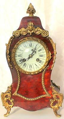 Vincenti Antique French 8 Day Rococo Ormolu Boulle Mantle Boudoir Clock