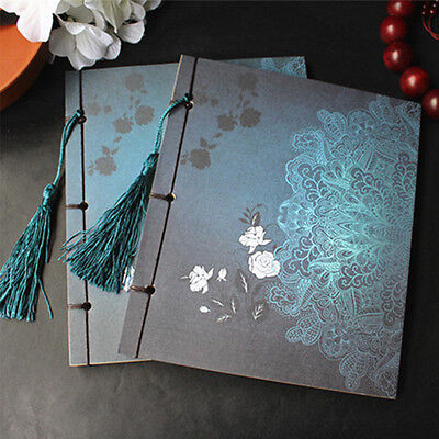 Retro Handmade Wire-bound Sketchbook Chinese Tassel Notebook Journal Diary Gift