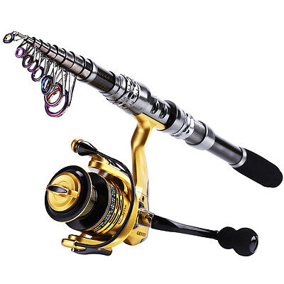 Telescopic Travel Fishing Rod with Reel Combos Tackle Set Spinning Fishing Kits