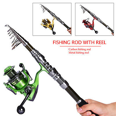 Trip Saltwater Freshwater Fishing Tackle Rod with Reel Tackle Kit Pole Combo Set