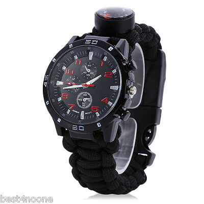 Outdoor Survival Watch Bracelet with Compass Fire Starter Thermometer Whistle