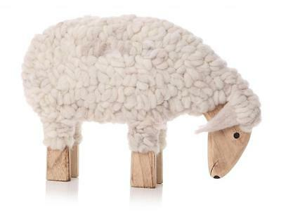30cm Vintage Large Woolly Sheep Figurine Wooden Sculpture Ornament Lamb Gift