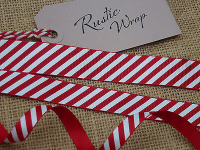 Red & White Candy Stripe Ribbon, Christmas Crafts Wrapping, 9mm 16mm & 22mm