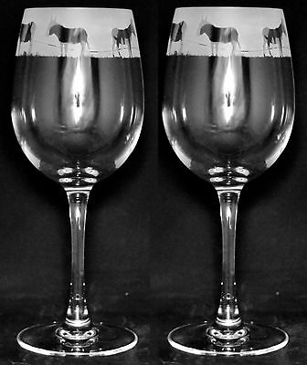 DONKEY GIFT - Boxed PAIR 35cl WINE GLASS with engraved DONKEY FRIEZE