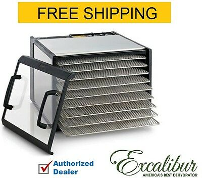 1 Excalibur D900CDSHD Stainless Steel Clear Door 9 Tray Food Dehydrator w/ Timer