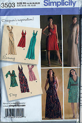 Sewing Pattern Simplicity 3503 Womens Halter Knit Sleeveless Dress  Sz. 14-22 Uc