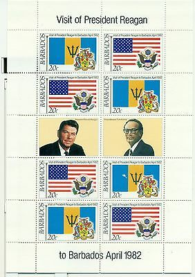DRAPEAUX - FLAGS BARBADOS 1982 Visit of President Reagan sheetlet