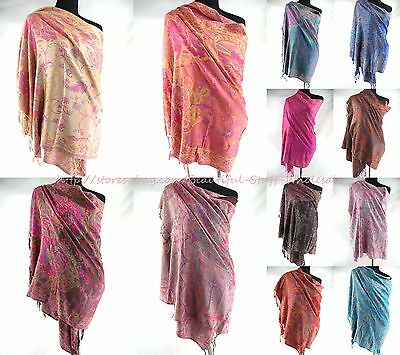 US SELLER-lot of 10 Wholesale women paisley vintage pashmina scarves viscose