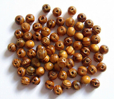 100pz perline in legno naturale tondo 8mm  colore marrone bijoux