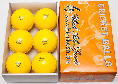 Black Ash Lot Of 6 Soft Cricket Wind Ball Training & Practice Yellow