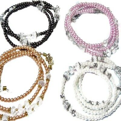 Reading eye glasses, sun glasses, spectacle chain holder Pearl and crystal