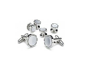 New Real MOP Silver Plated Cufflinks Pearl studs Retail Gift Boxed set TUXXMAN