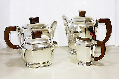 Stunning Art Deco Silver-Plate French 4 piece Tea set Fully Hallmarked