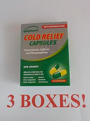 GALPHARM COLD RELIEF CAPSULES decongestant colds flu 3 BOXES of 16 = 48 capsules