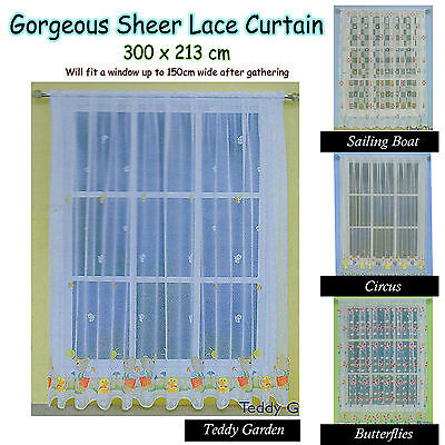 Gorgeous Children Kids Boys Girls Baby Nursery Sheer Lace Curtain 300cm x 213cm