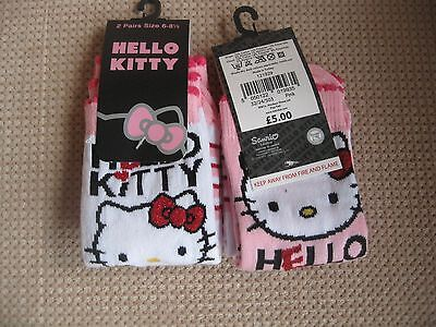 Pack of 2, Girls Hello Kitty socks 2 sizes 6-8.5 &12.5-3.5
