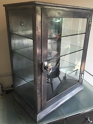 Vintage Steel Medical Display Cabinet Industrial Mid Century  50's