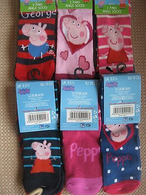Pack of 2, Childrens Peppa Pig socks, 3 sizes 3-5.5, 6-8.5, 9-12