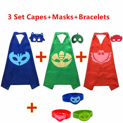 Superhero PJ Masks Cape Sets Gekko Owlette Catboy Kids Costume Halloween Party