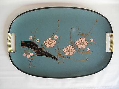 Enesco Serving Tray Turquoise Pink Cherry Blossom Japan Mid Century Modern