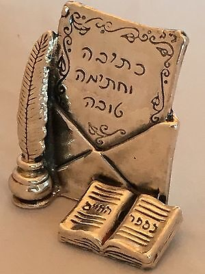925 Electroplated Sterling Silver Judaica Miniature New Year Best Wishes Letter